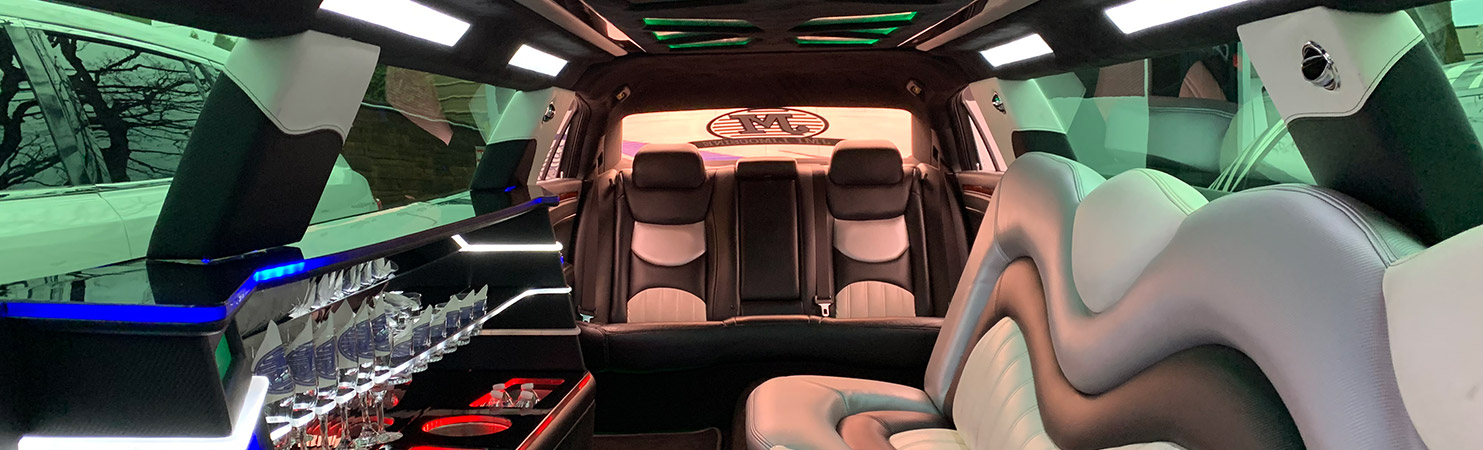 Chrysler 300 black limo interior